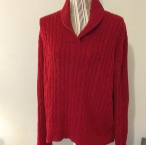 Chaps Red Cable Knit Sweater